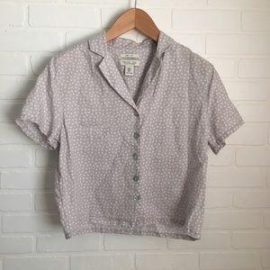 Rachel Zoe Polka Dot Linen Button Down Shirt